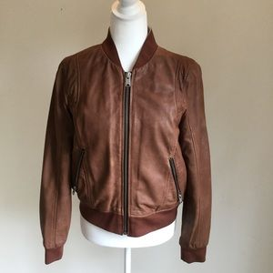 Andrew Marc Brown Wynn leather bomber jacket M
